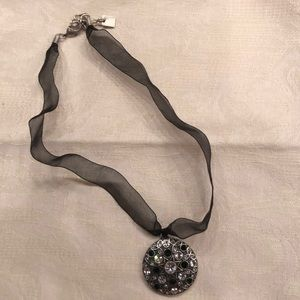 """16"""" ribbon necklace w crystal pendant"""